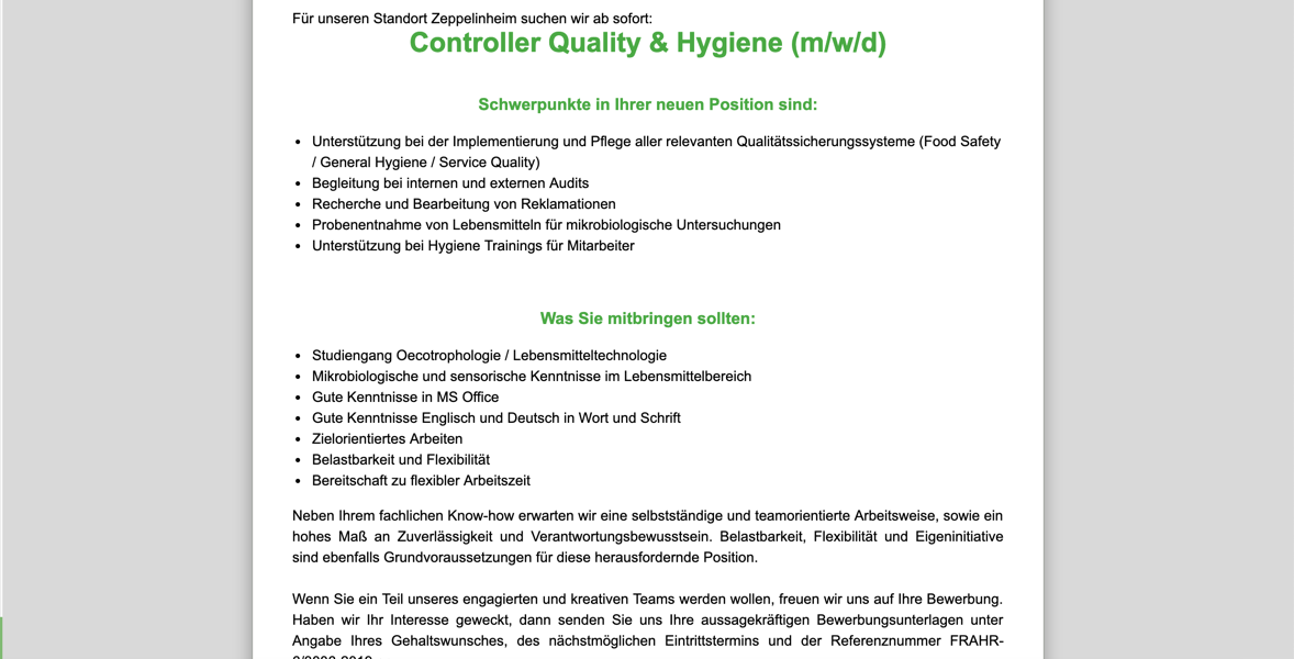 Gate Gourmet Controller Quality and Hygiene
