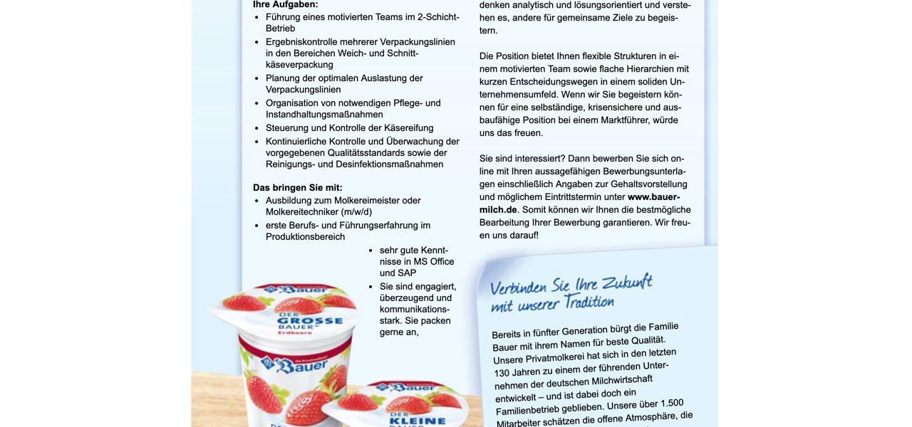 Bauer Schichtleiter Käseverpackung Käsereifung