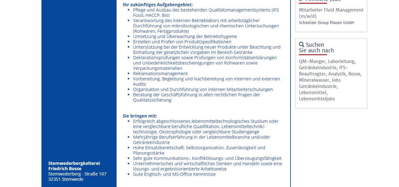 Stemwederbergkelterei Friedrich Bosse QM QS Mitarbeiter IFS Food Beauftragter