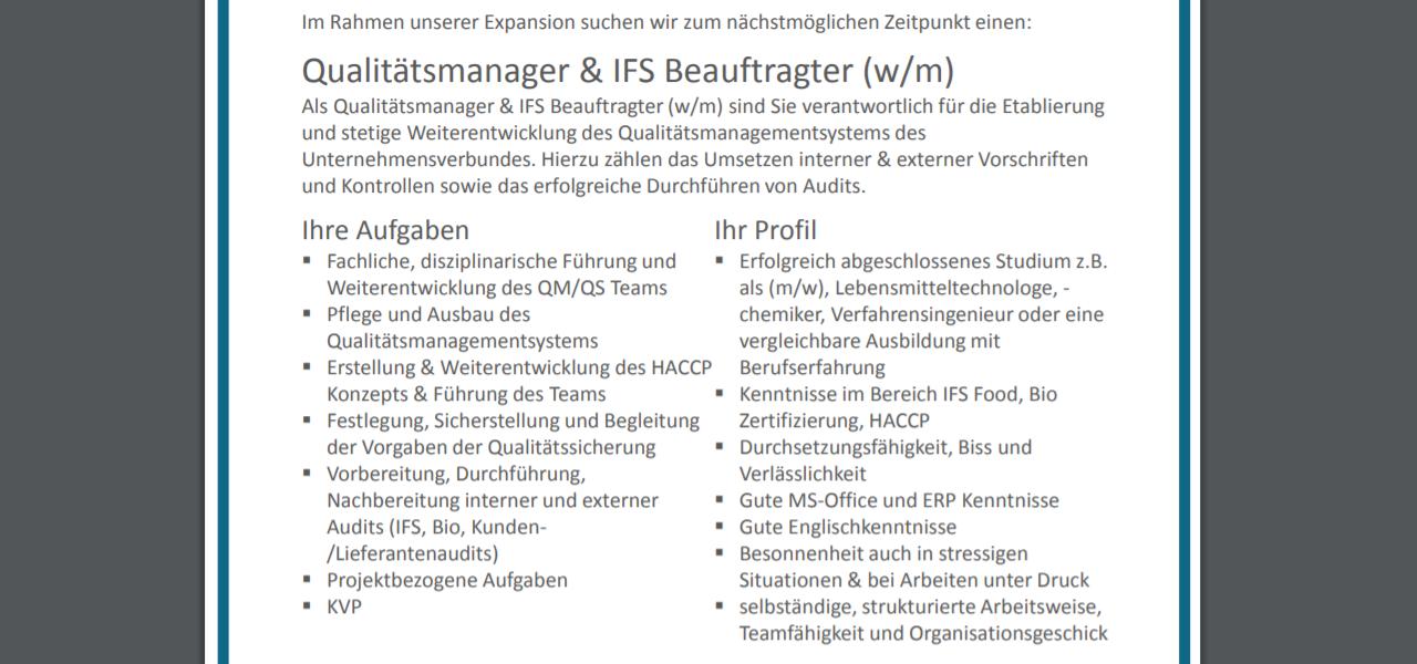 Busemann Qualitätsmanager & IFS-Beauftragter