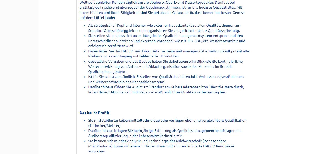 Ehrmann Leiter Qualitätsmanagement