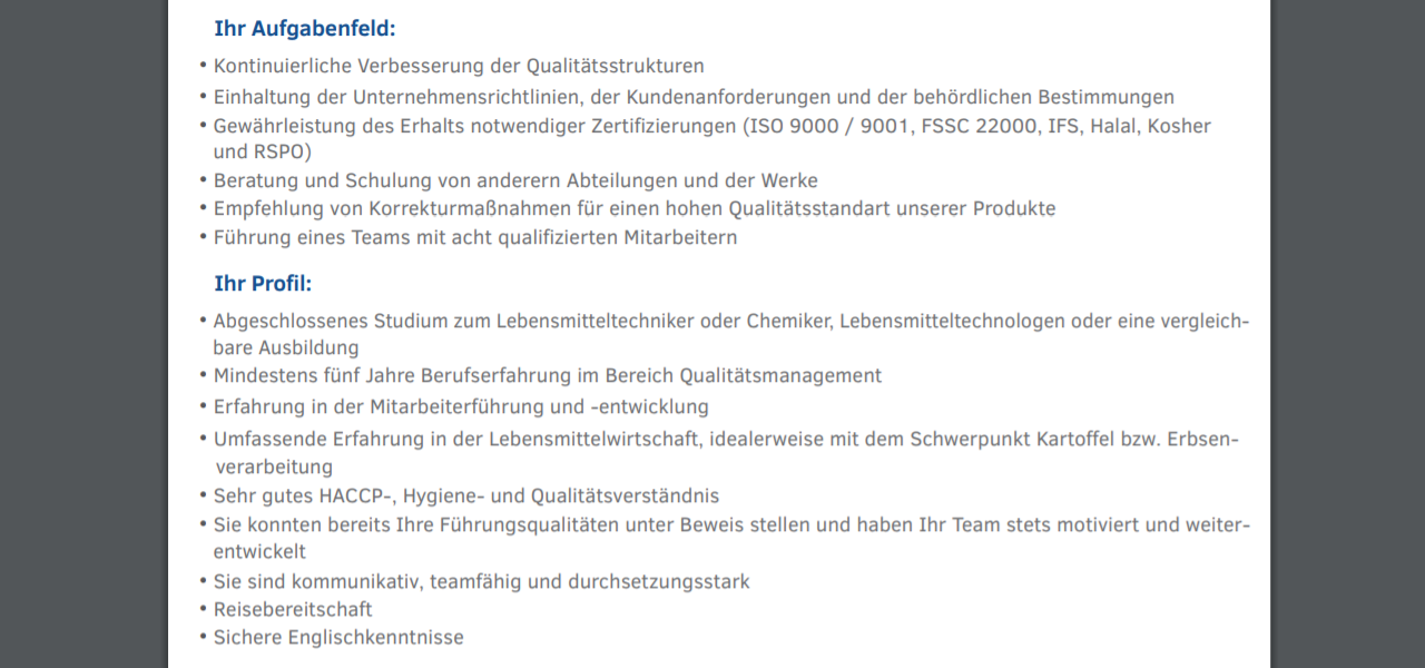 Emsland Group Leiter Qualitätsmanagement
