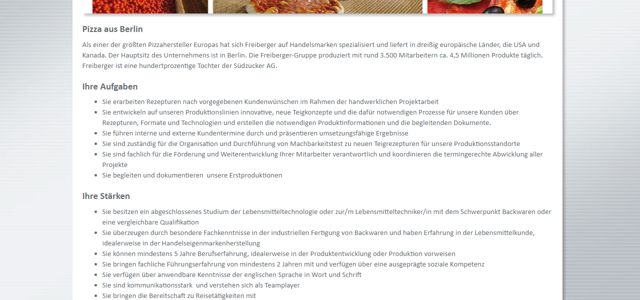 Freiberger Teamleiter Backwarentechnologie