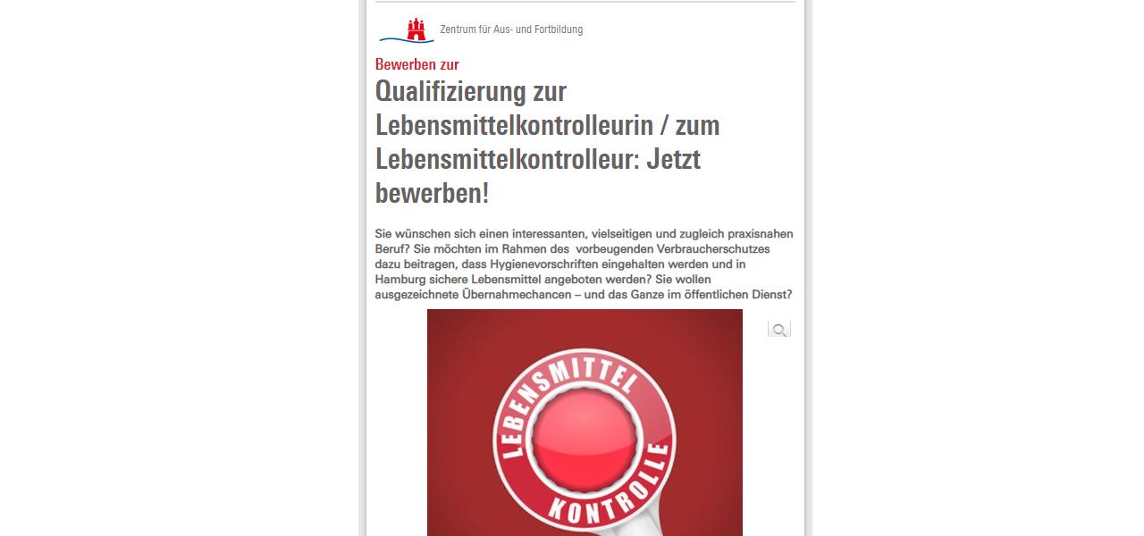 Hamburg Qualifizierung Lebensmittelkontrolleur