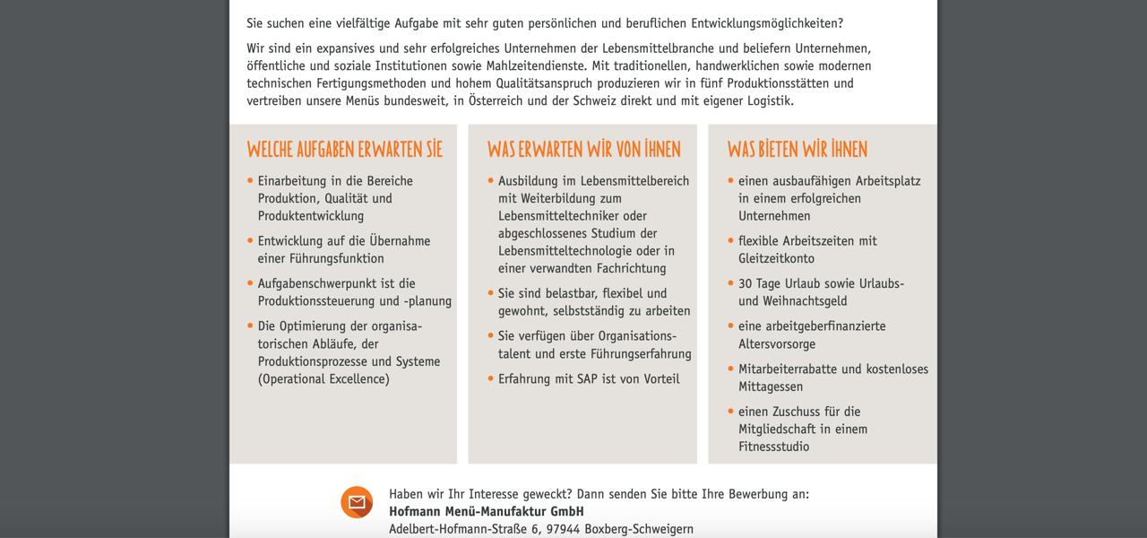 Hofmann Menü-Manufaktur Trainee Lebensmittelproduktion