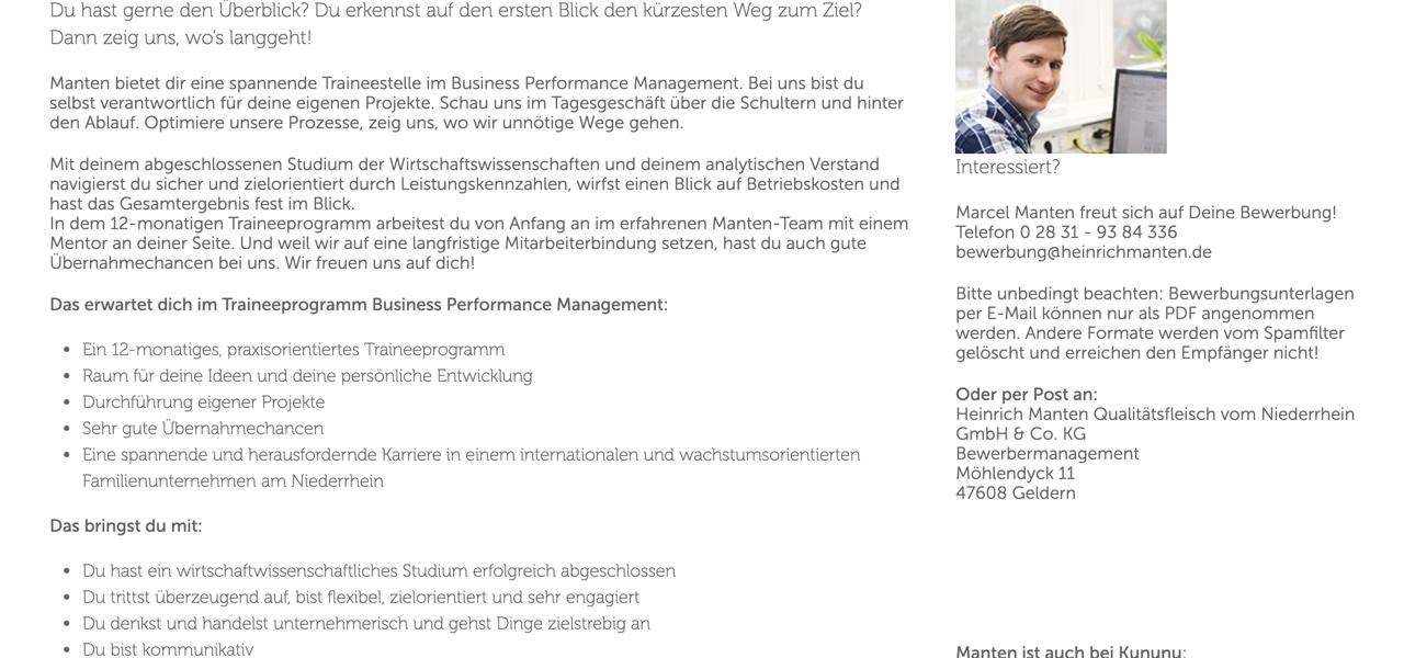 Manten Traineeprogramm Business Performance Management