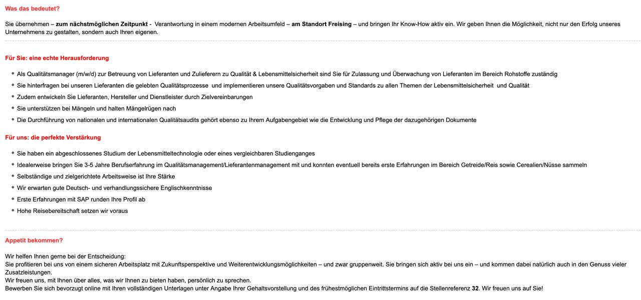 Unternehmensgruppe Theo Müller Qualitätsmanager