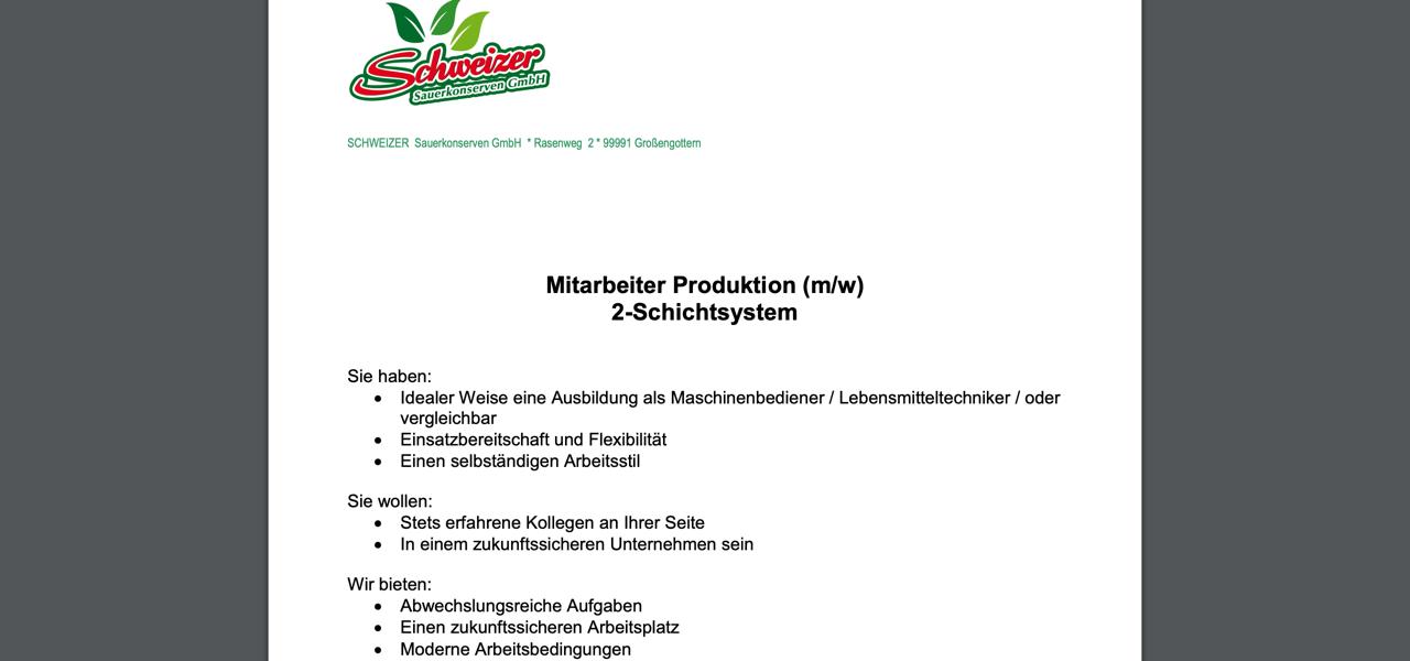 Schweizer Sauerkonserven Mitarbeiter Produktion